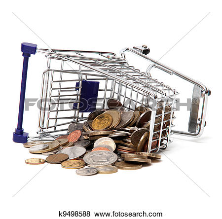 Pictures of Toppled basket of commodities with coins k9498588.