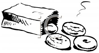Picture of a Bag of Donuts. The Bag Is Toppled Over In a Vector.
