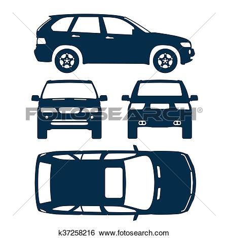 Clip Art of Car suv four all view top side back insurance, rent.