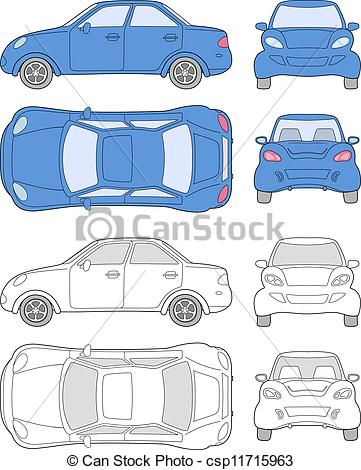 Clip Art Vector of Passenger car (colored and outlined top, side.