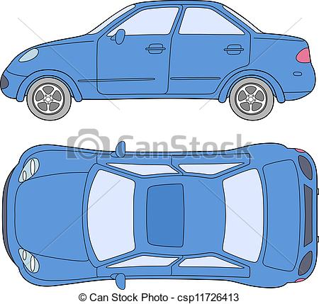 Vector Clip Art of Passenger car (outlined top, side view.