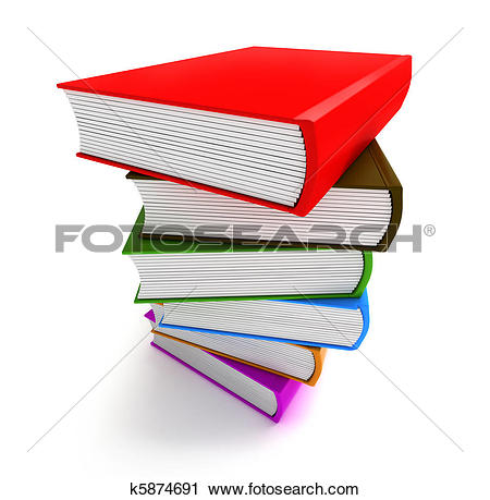 Clipart of Books multicolor in pile top side k5874691.