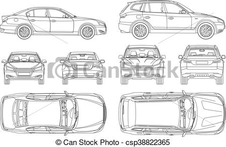 Clip Art Vector of Car sedan and suv line draw four all view top.