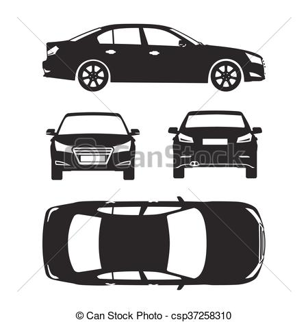 Vector Clip Art of Car silhouette icons four all view top side.
