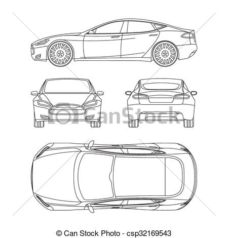 EPS Vector of Car line draw four all view top side back insurance.