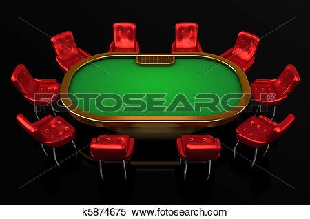 Stock Illustration of Poker table with chairs top side k5874675.