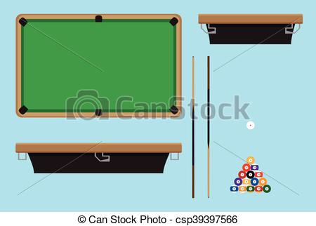 Clip Art Vector of Pool table top side. Billiard table and snooker.