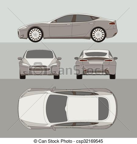 EPS Vector of Car four all view top side back insurance, rent.