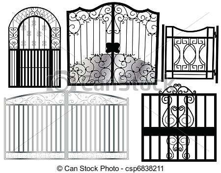 Gate Black And White Clipart.
