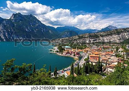 Pictures of An Aerial View of The Town of Torbole, Lake Garda.