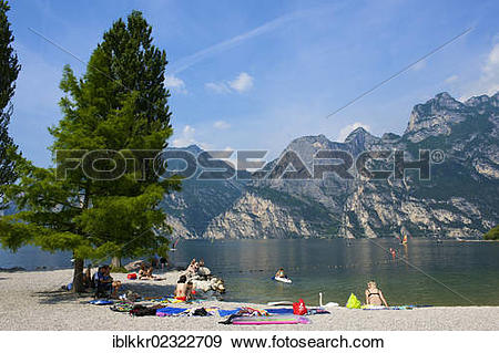 "Stock Photograph of ""Beach promenade in Torbole on Lake Garda."