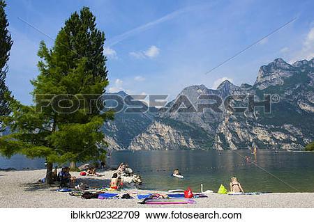 "Stock Photograph of ""Beach promenade in Torbole on Lake Garda."