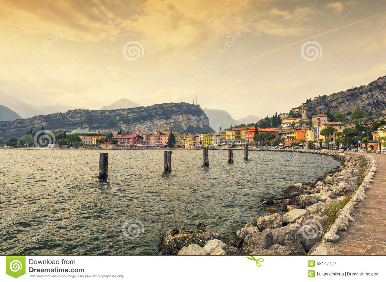 Sunset In Torbole At Lake Garda, Italy Stock Photo.