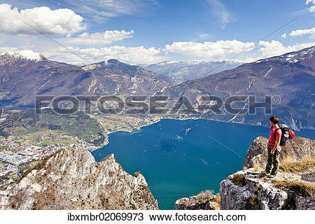 "Stock Photo of ""Climber on the Cima Rocca, via ferrata with view."