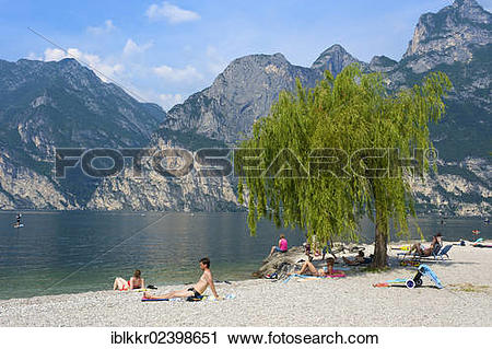 "Stock Photography of ""Beach at Torbole on Lake Garda, Italy."