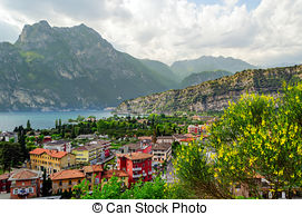 Stock Images of Panorama of Torbole, Lake Garda, Italy..