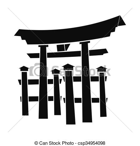 EPS Vectors of Floating Torii gate, Japan icon, simple style.