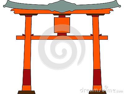 Japan Traditional Gate Red Torii Stock Illustration.