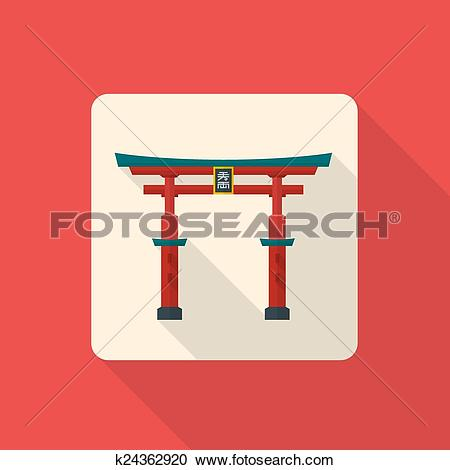 Clipart of vector colored flat design traditional japan gate torii.