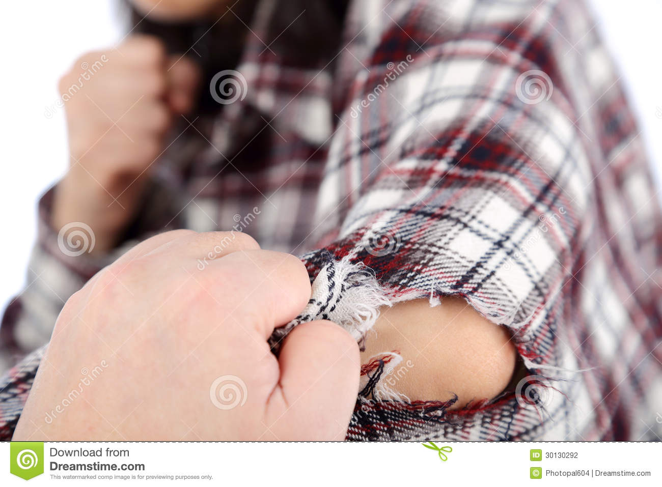 Hand Tear Clothes Stock Photography.