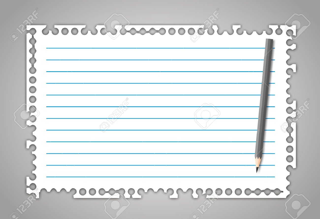 New Torn Paper Note With Line And Pencil. Royalty Free Cliparts.
