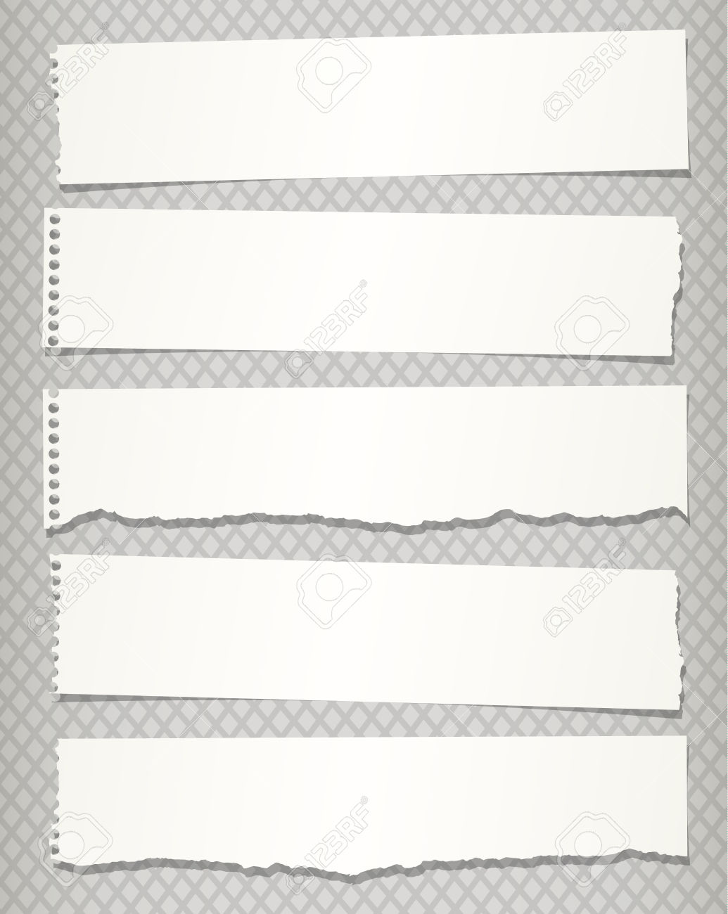 Pieces Of White Torn Notebook Paper On Gray Background. Royalty.