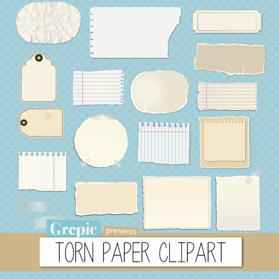 Torn paper clipart pack with torn pieces of paper and worn out.