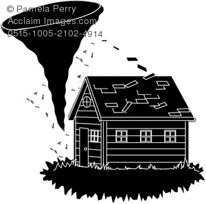 Clip Art Image of a Tornado Tearing the Roof Off a House.