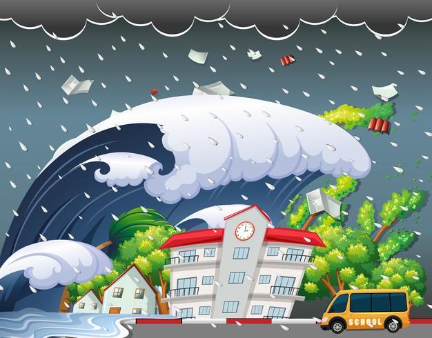 Tsunami hit school building.