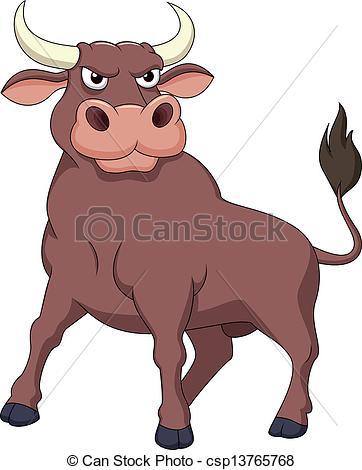Clip Art Vector of Strong bull cartoon.