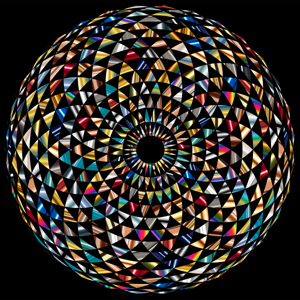 Clipart Colorful Toroid Mandala With Black Background.