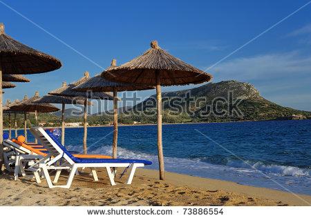 Decks At Beach In Toroni, Sithonia, Halkidiki, Greece Stock Photo.