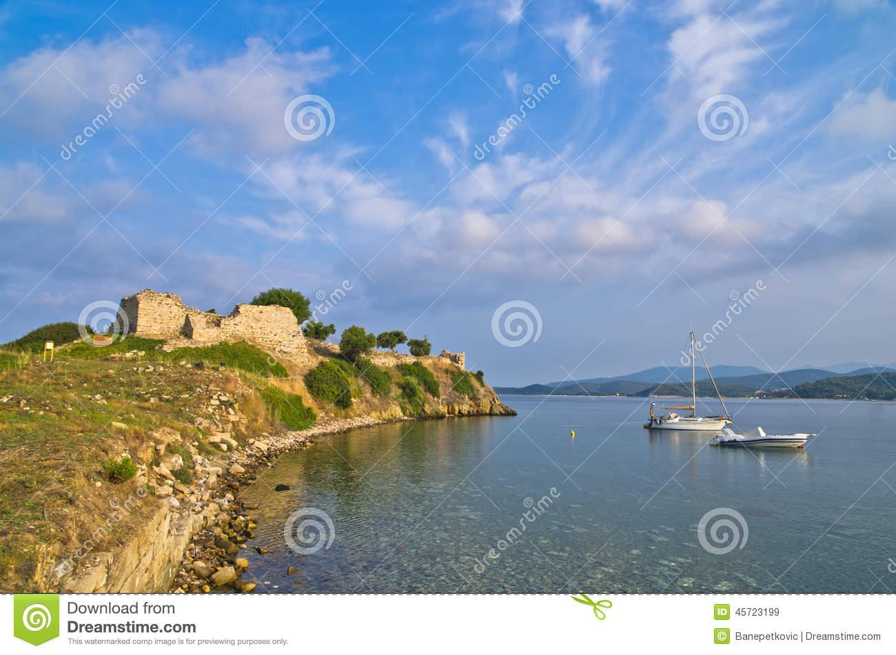 Morning At Toroni Bay Near Old Roman Fortress, Sithonia Stock.