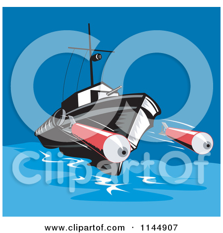 Clipart of a Battleship Launching Torpedoes.