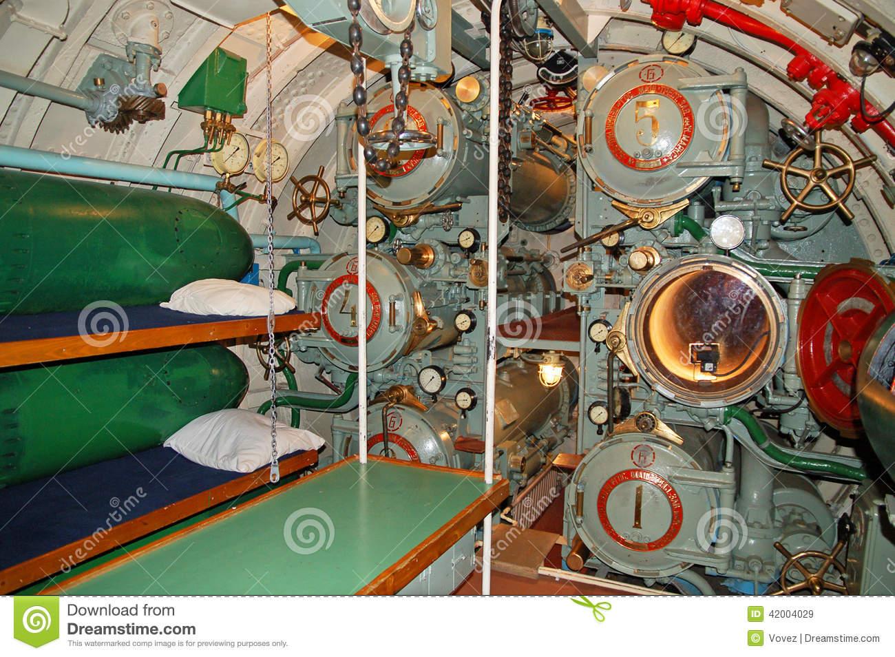 The Interior Of The Submarine, Torpedo Tubes Stock Photo.