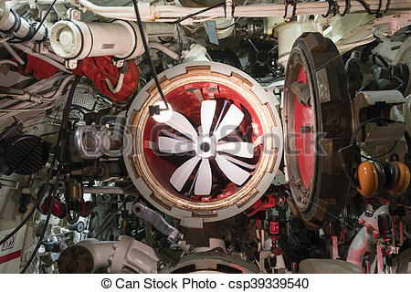 Stock Photo of Torpedo tube of submarine, view from inside.
