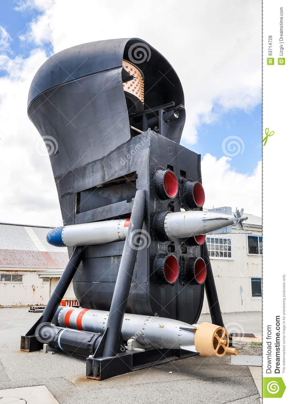 Submarine Bow: Torpedo Tubes And Sonar Dome Editorial Stock Photo.