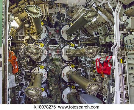 Stock Image of system of ancient submarine torpedo tubes k18078275.