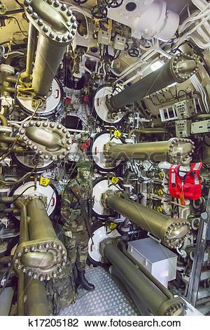 Stock Photo of system of ancient submarine torpedo tubes k17205182.