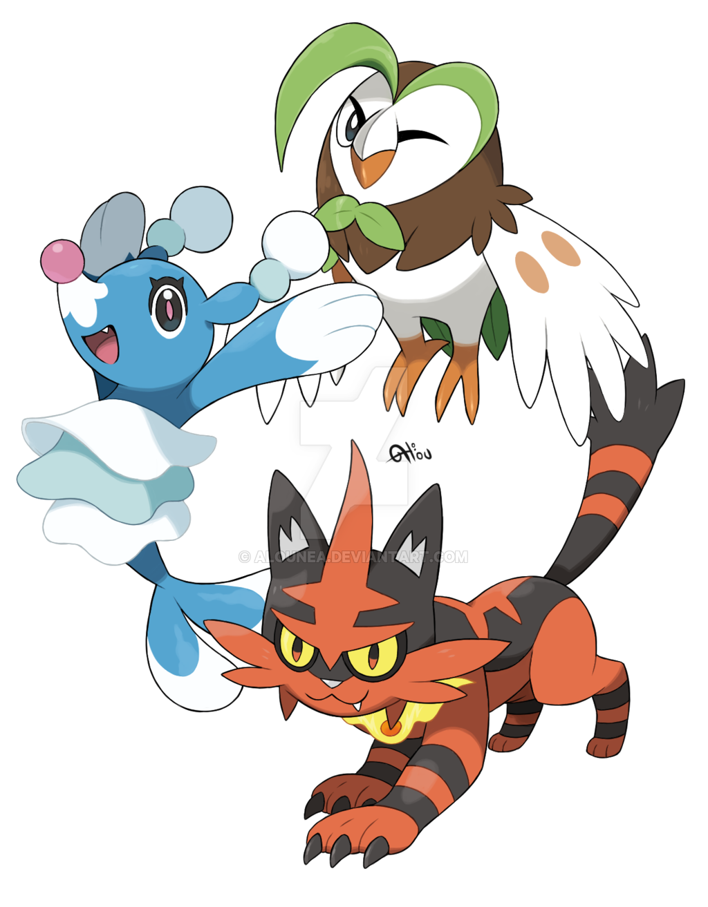 Dartrix, Torracat and Brionne by AlouNea on DeviantArt.