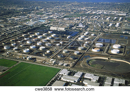 Pictures of Aerial view of oil refinery and storage tanks in.