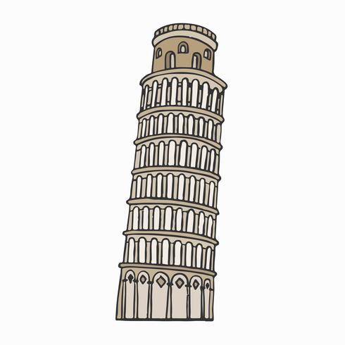 Leaning Tower of Pisa illustration.