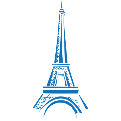 Eifel Tower Blue Clipart transparent PNG.
