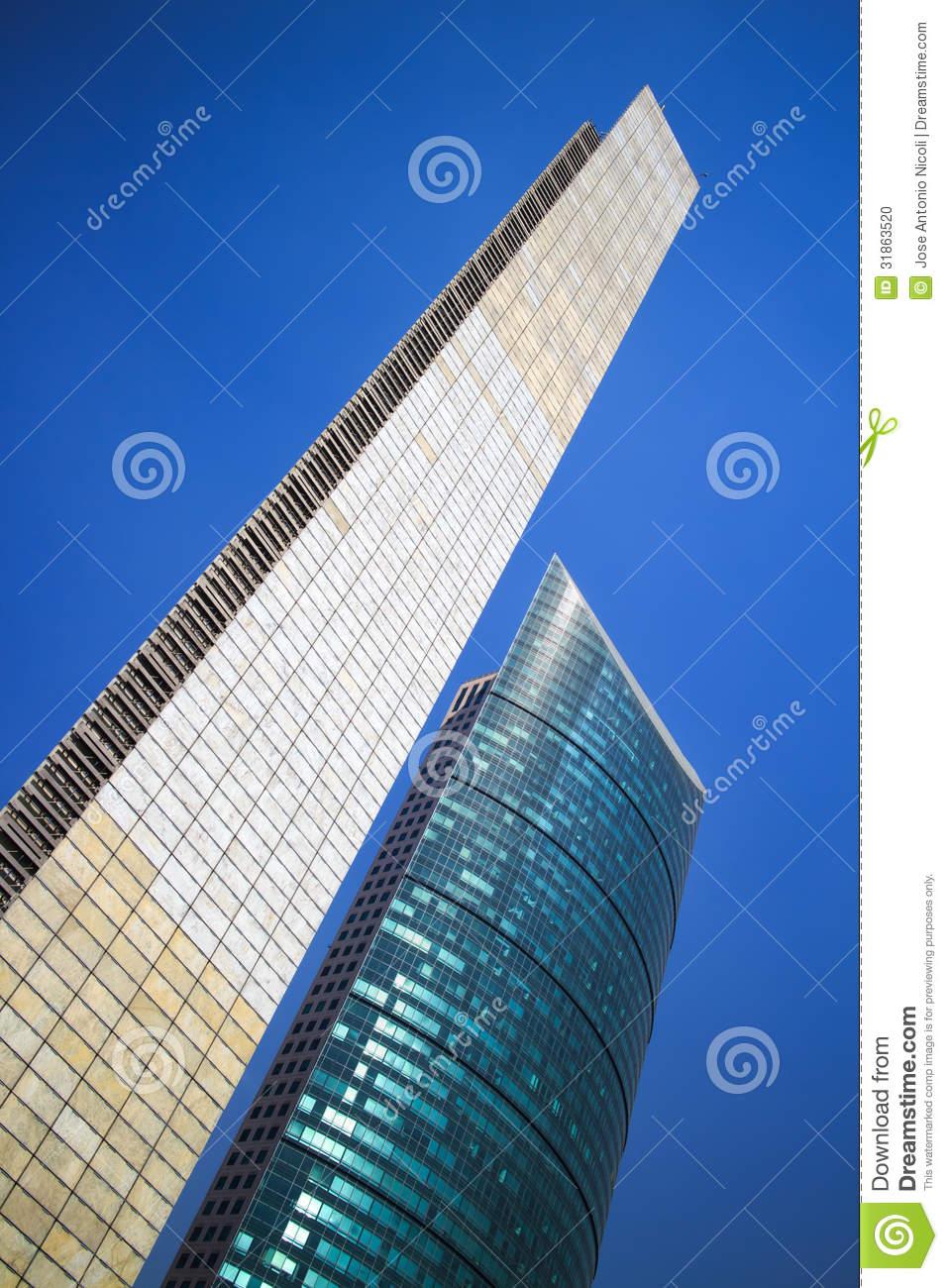 Pillar Of Light And Torre Mayor Skyscraper In Mexico City. Stock.