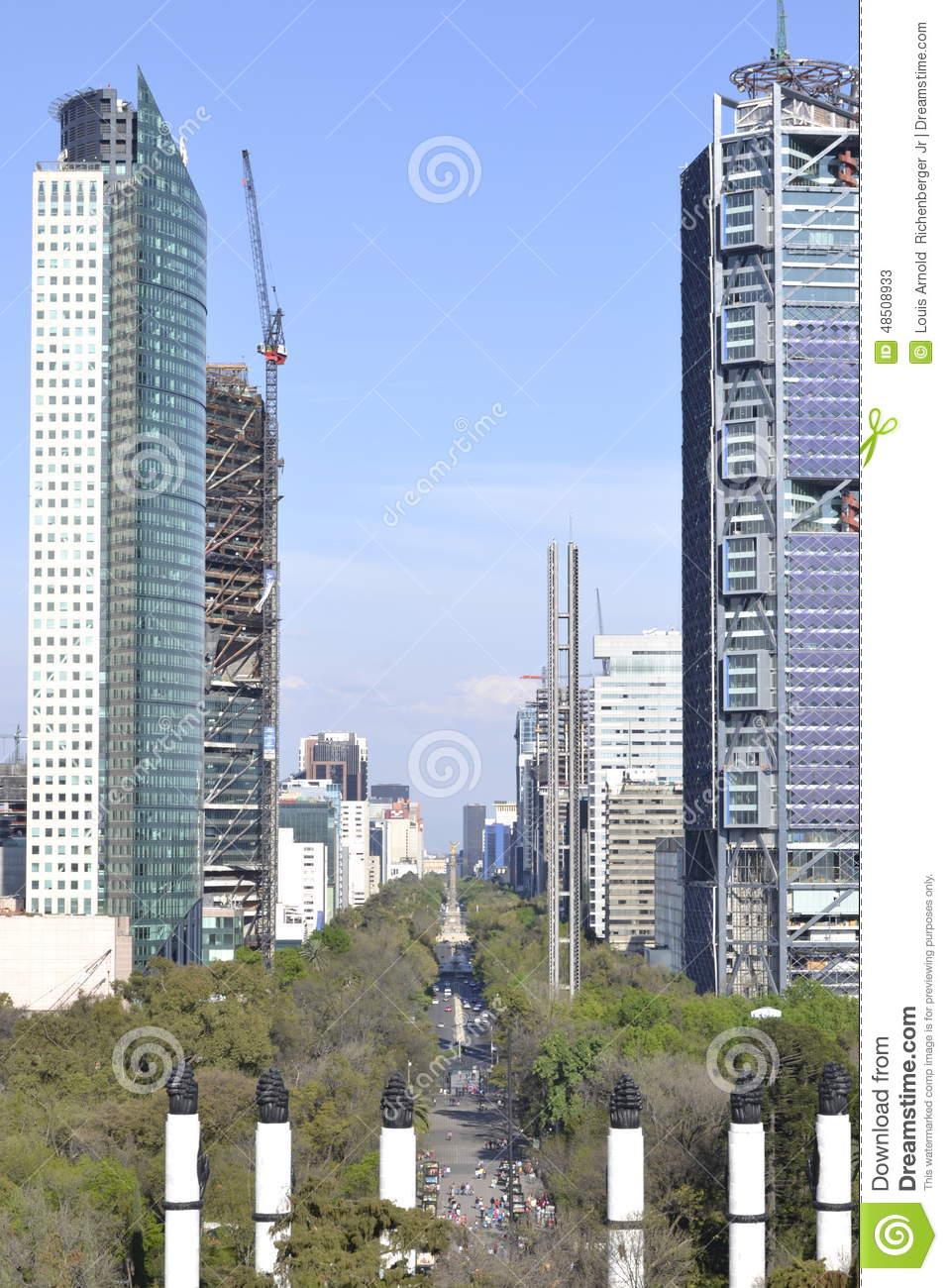 Torre Mayor, Reforma Y El Angel Editorial Stock Photo.