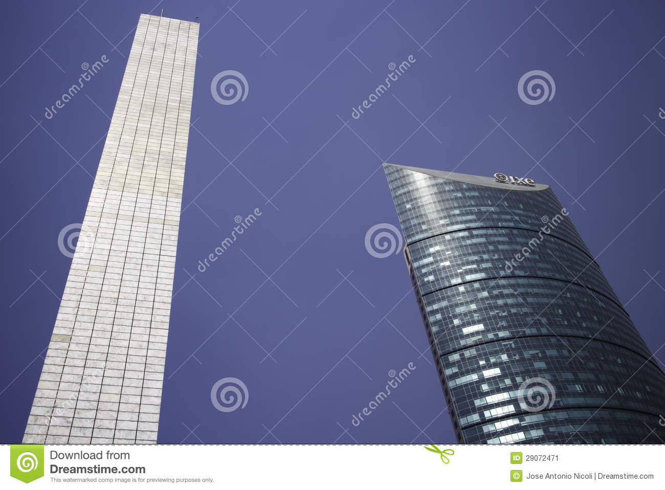 Pillar Of Light And Torre Mayor Skyscraper In Mexico City.