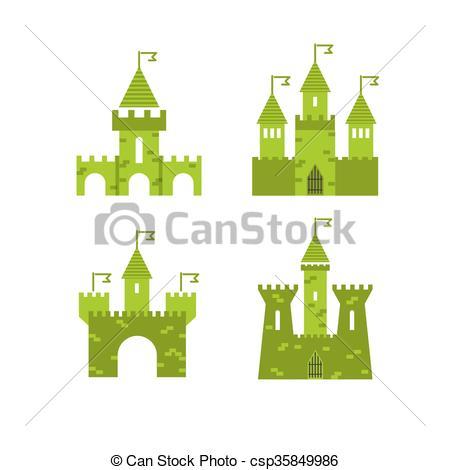 Vector de Ilustración, torreón, bandera, señal, pared, atrás.