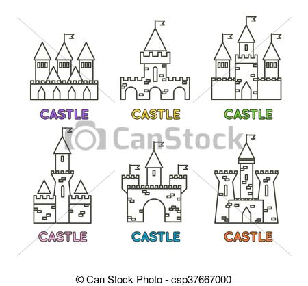 Vector Clipart of Castle vector set. Castle tower vector logo.