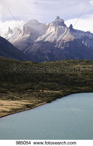 Stock Photo of Detail of Lake Pehoe and Cuernos del Paine, Torres.