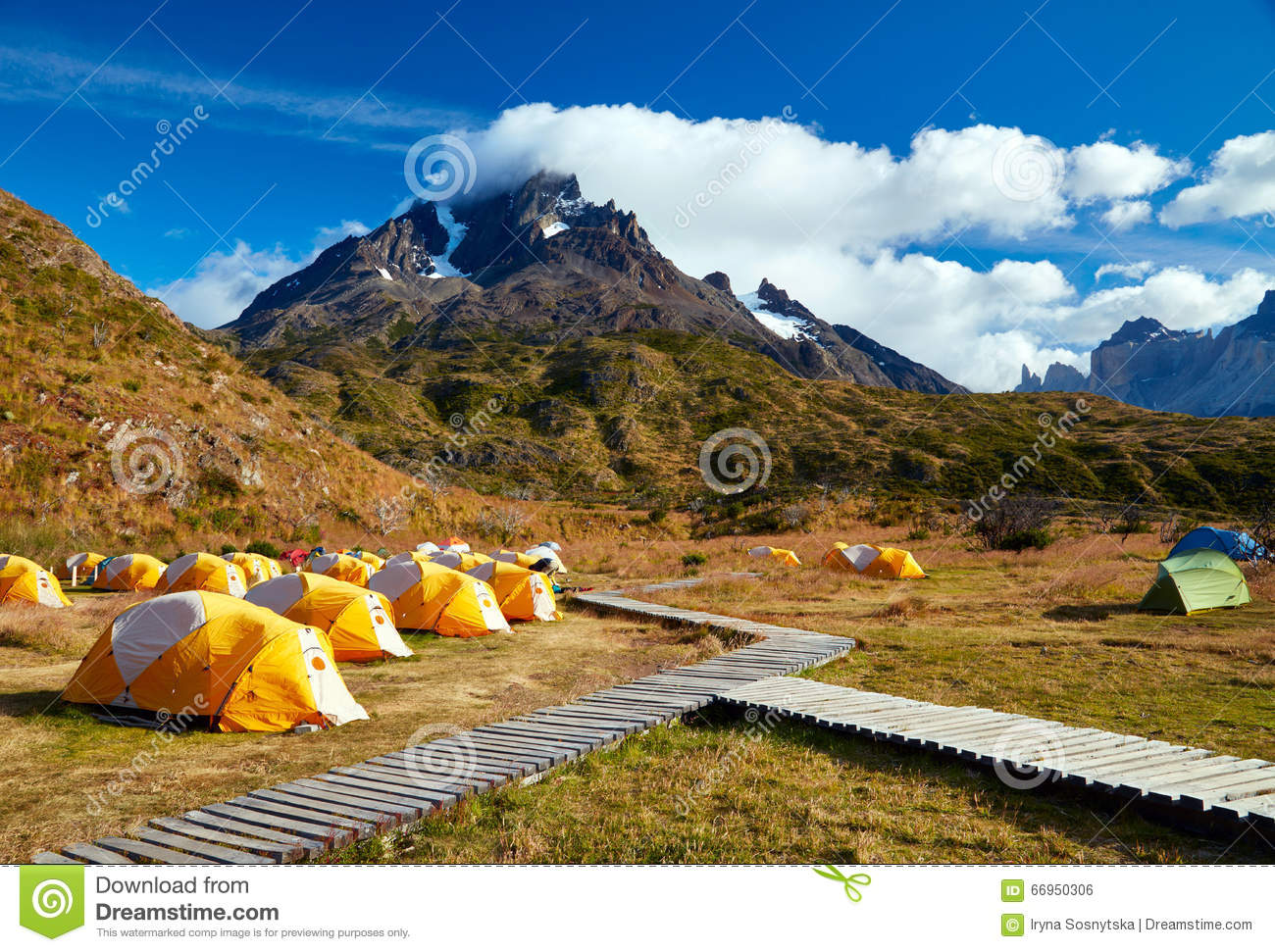 Camping In Torres Del Paine National Park. Stock Photo.